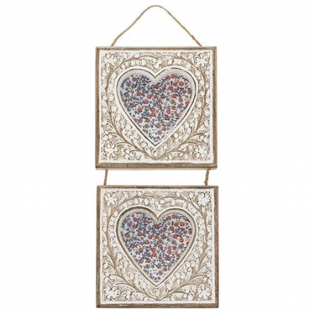 50% OFF Hand carved Mango Hanging double heart frame